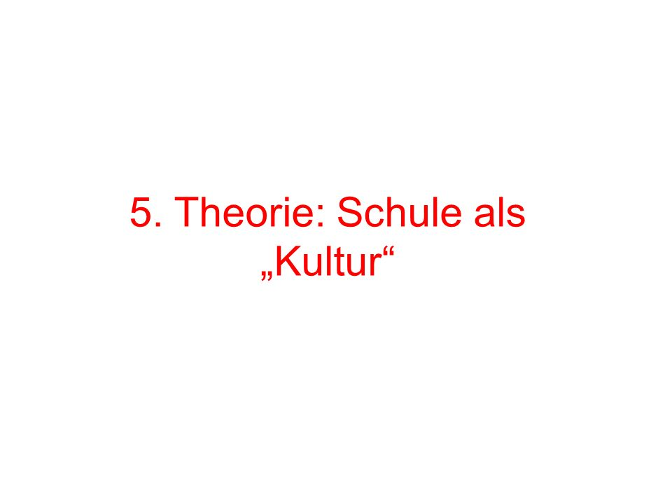 """5. Theorie: Schule als """"Kultur"""