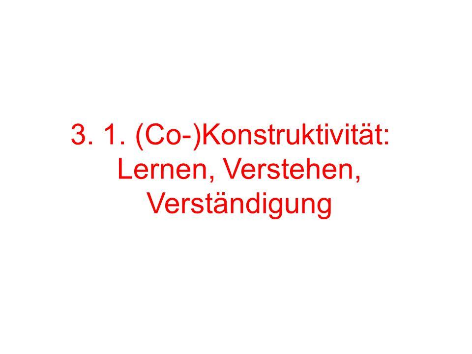 3. 1. (Co-)Konstruktivität: Lernen, Verstehen, Verständigung