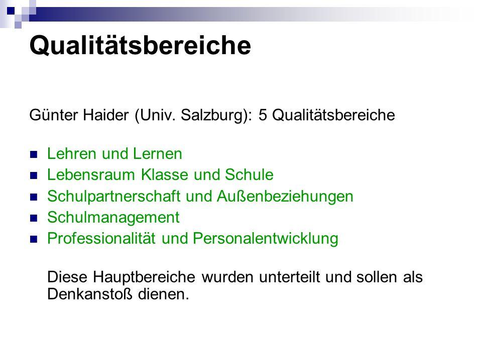 Qualitätsbereiche Günter Haider (Univ. Salzburg): 5 Qualitätsbereiche