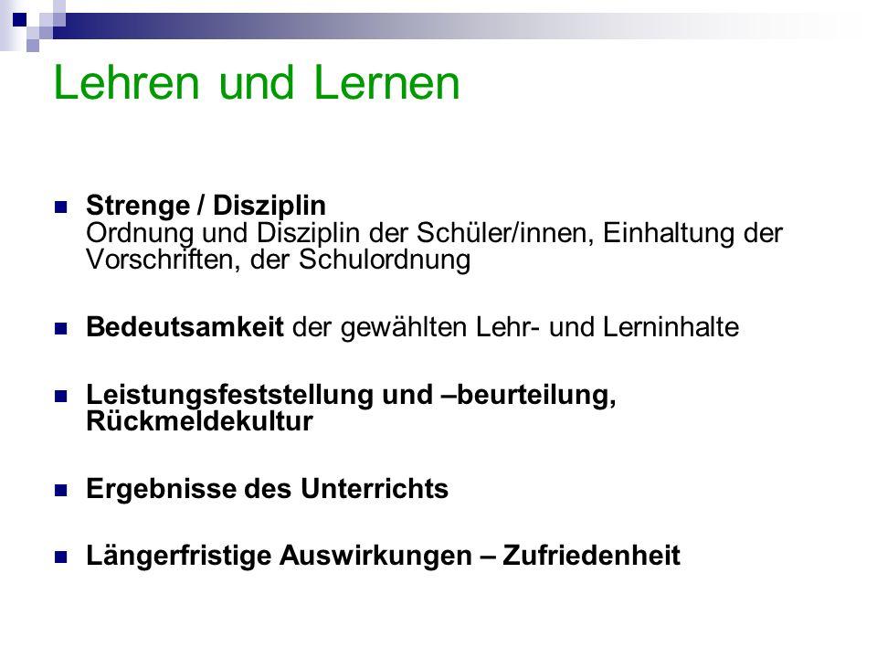 Lehren und Lernen Strenge / Disziplin Ordnung und Disziplin der Schüler/innen, Einhaltung der Vorschriften, der Schulordnung.
