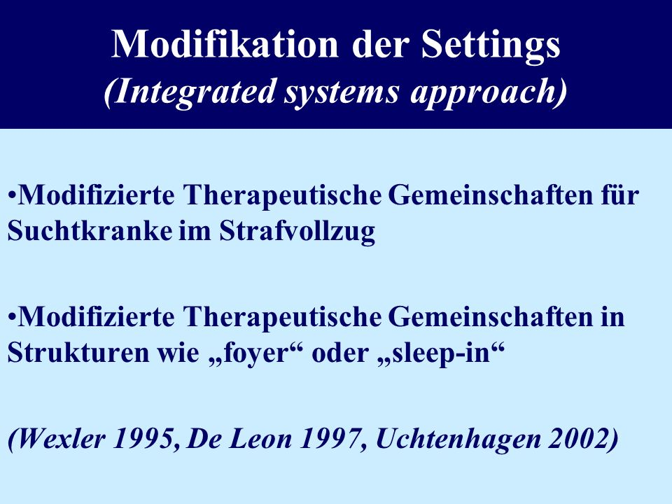 Modifikation der Settings (Integrated systems approach)
