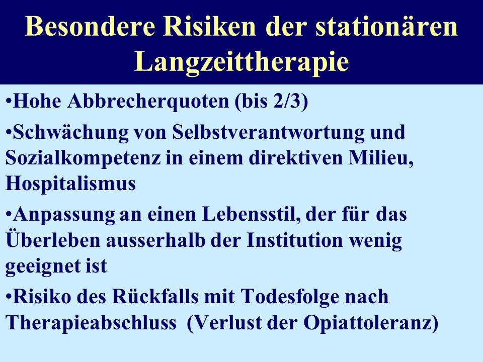 Besondere Risiken der stationären Langzeittherapie