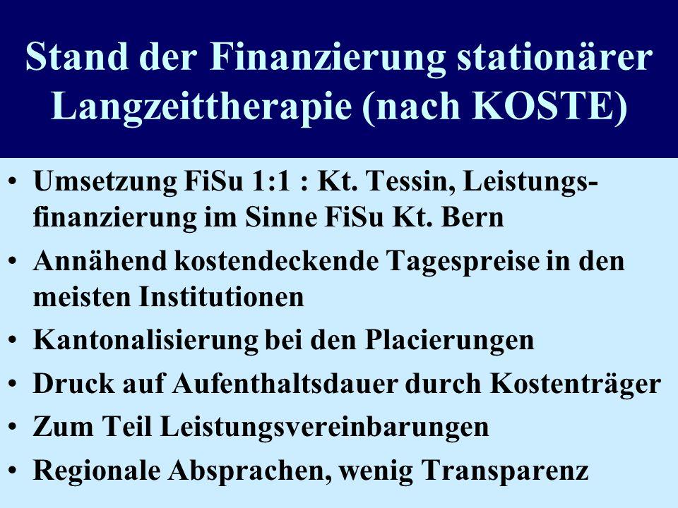 Stand der Finanzierung stationärer Langzeittherapie (nach KOSTE)