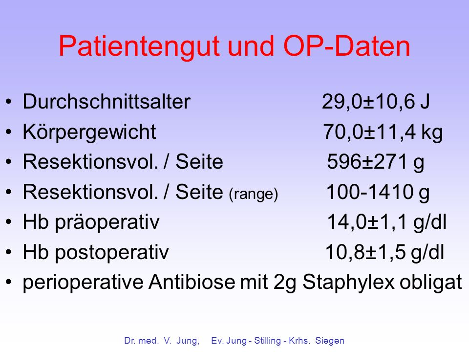 Patientengut und OP-Daten