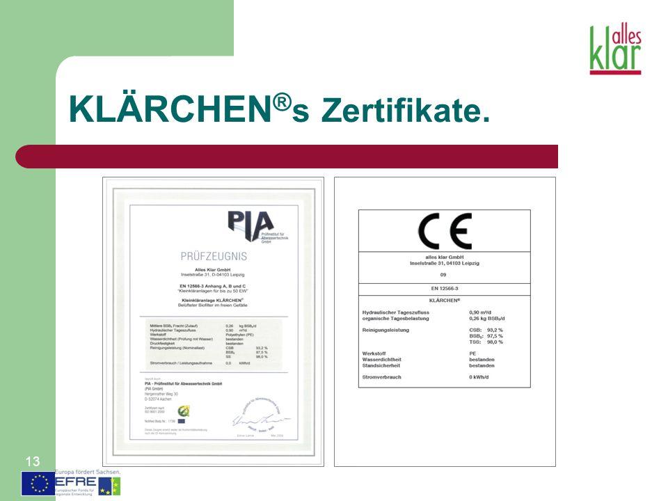 KLÄRCHEN®s Zertifikate.