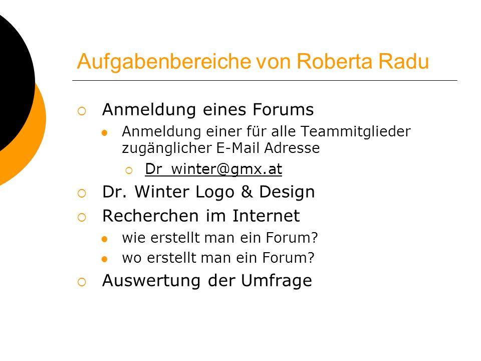 Aufgabenbereiche von Roberta Radu