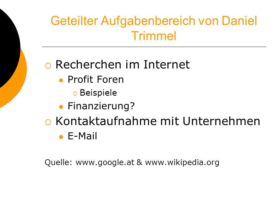 Geteilter Aufgabenbereich von Daniel Trimmel