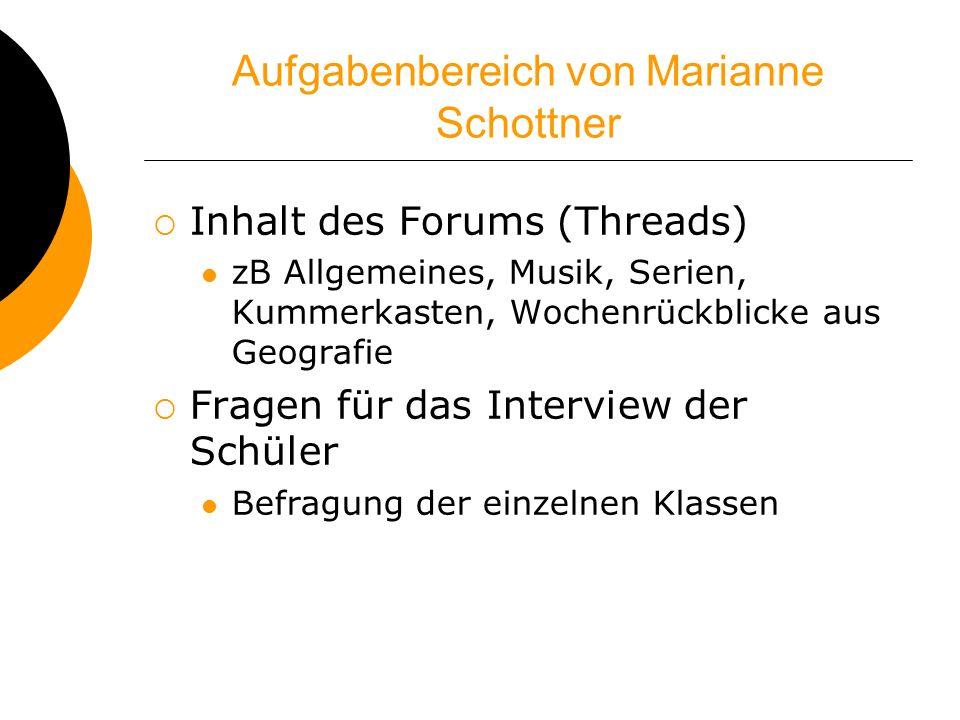 Aufgabenbereich von Marianne Schottner