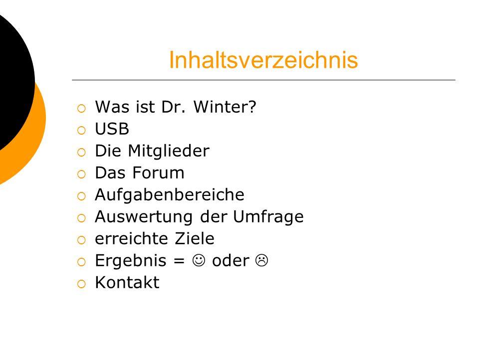 Inhaltsverzeichnis Was ist Dr. Winter USB Die Mitglieder Das Forum