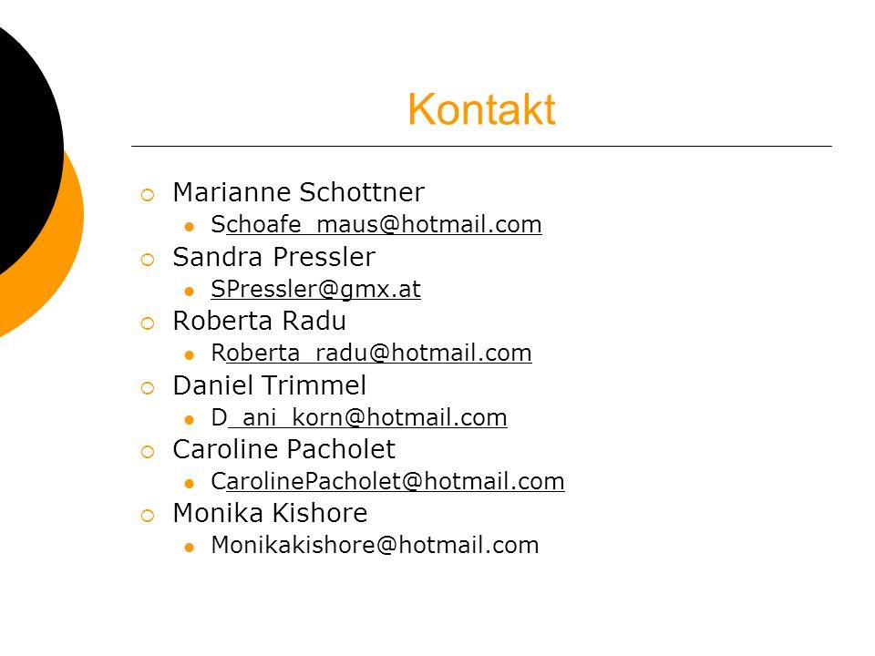 Kontakt Marianne Schottner Sandra Pressler Roberta Radu Daniel Trimmel