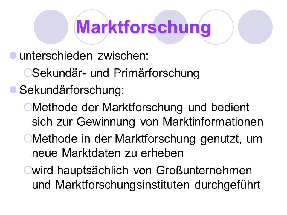 Marktforschung unterschieden zwischen: Sekundär- und Primärforschung