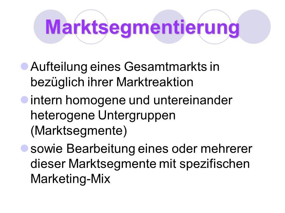 Marktsegmentierung Aufteilung eines Gesamtmarkts in bezüglich ihrer Marktreaktion.