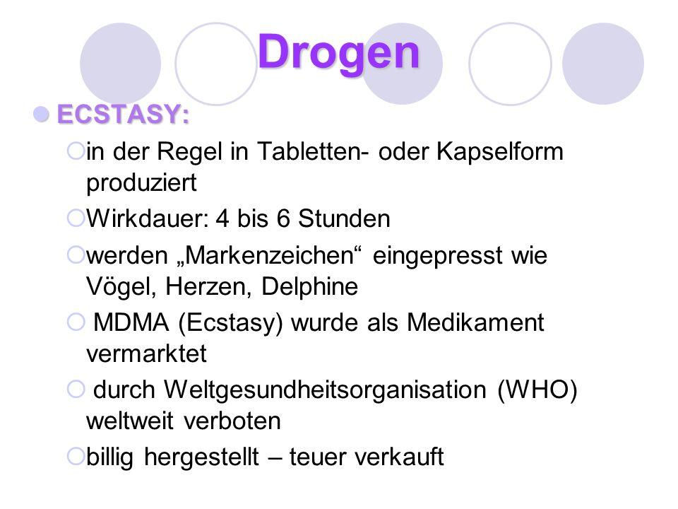 Drogen ECSTASY: in der Regel in Tabletten- oder Kapselform produziert