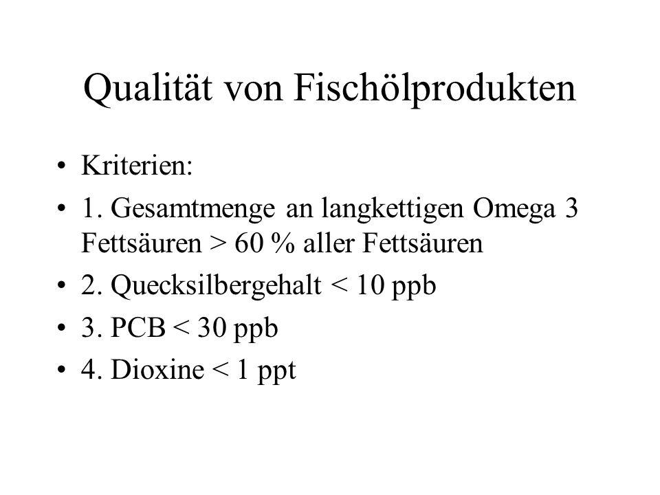 Qualität von Fischölprodukten