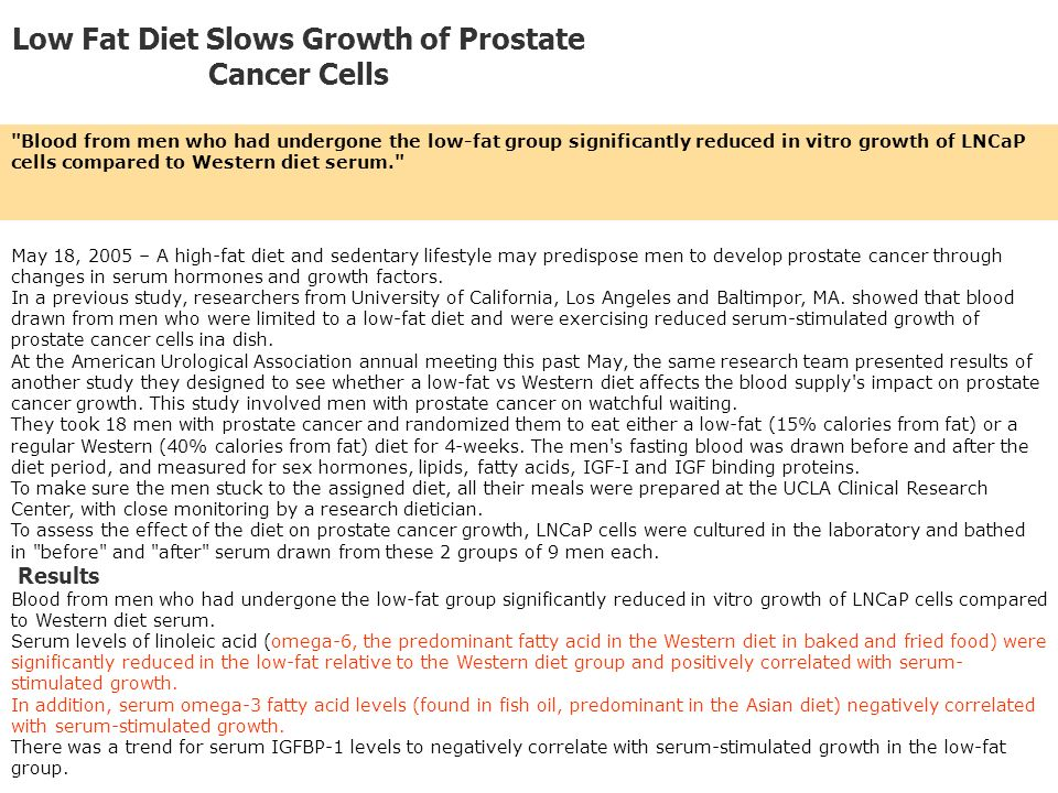 Low Fat Diet Slows Growth of Prostate Cancer Cells