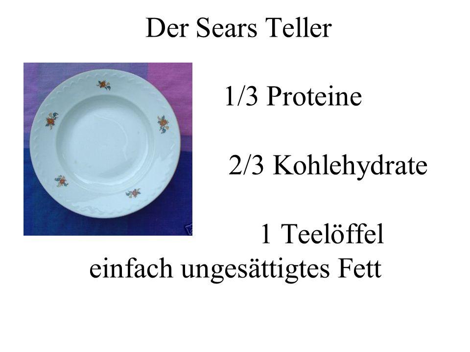 Der Sears Teller 1/3 Proteine 2/3 Kohlehydrate 1 Teelöffel einfach ungesättigtes Fett
