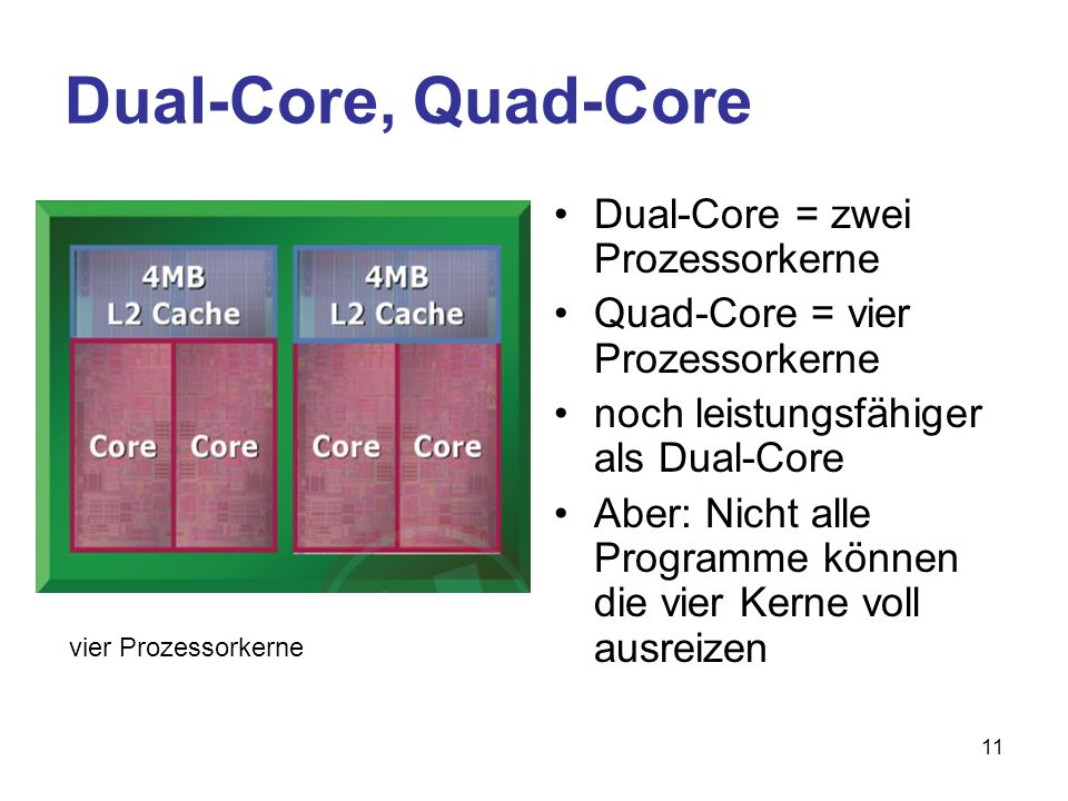 Dual-Core, Quad-Core Dual-Core = zwei Prozessorkerne