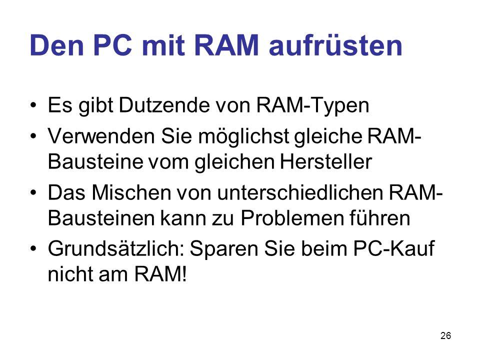 Den PC mit RAM aufrüsten