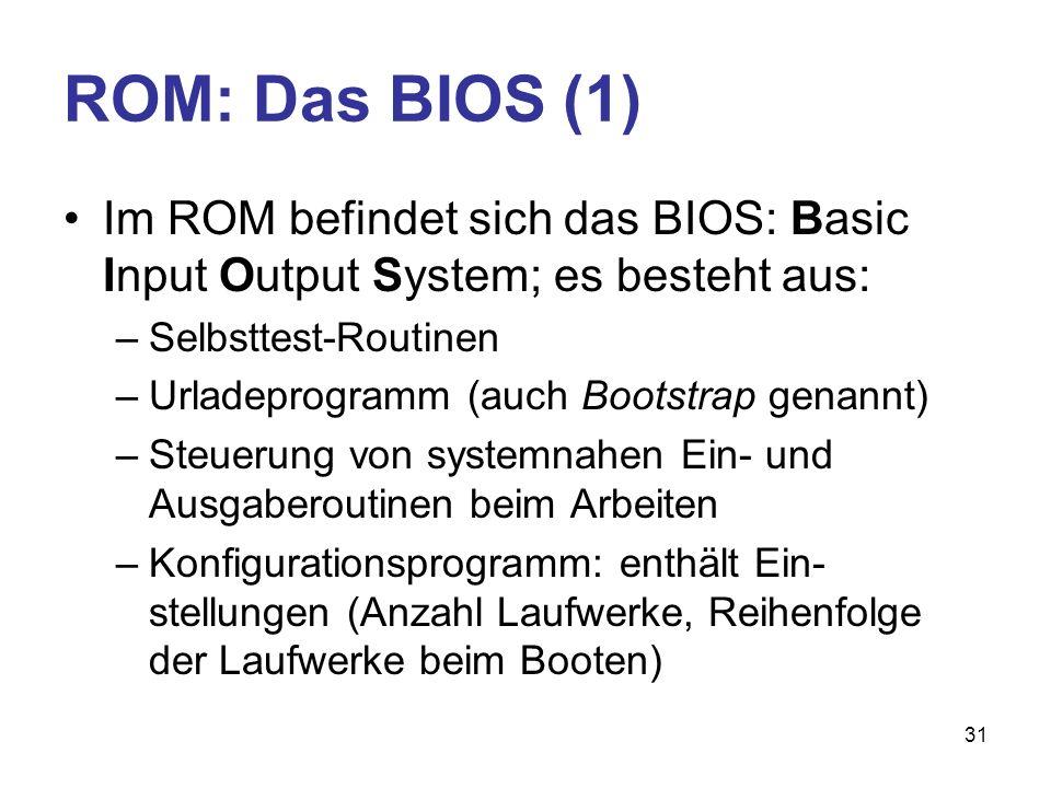 ROM: Das BIOS (1) Im ROM befindet sich das BIOS: Basic Input Output System; es besteht aus: Selbsttest-Routinen.