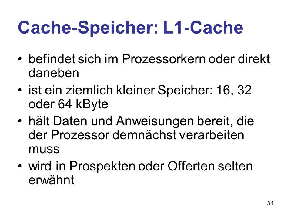 Cache-Speicher: L1-Cache