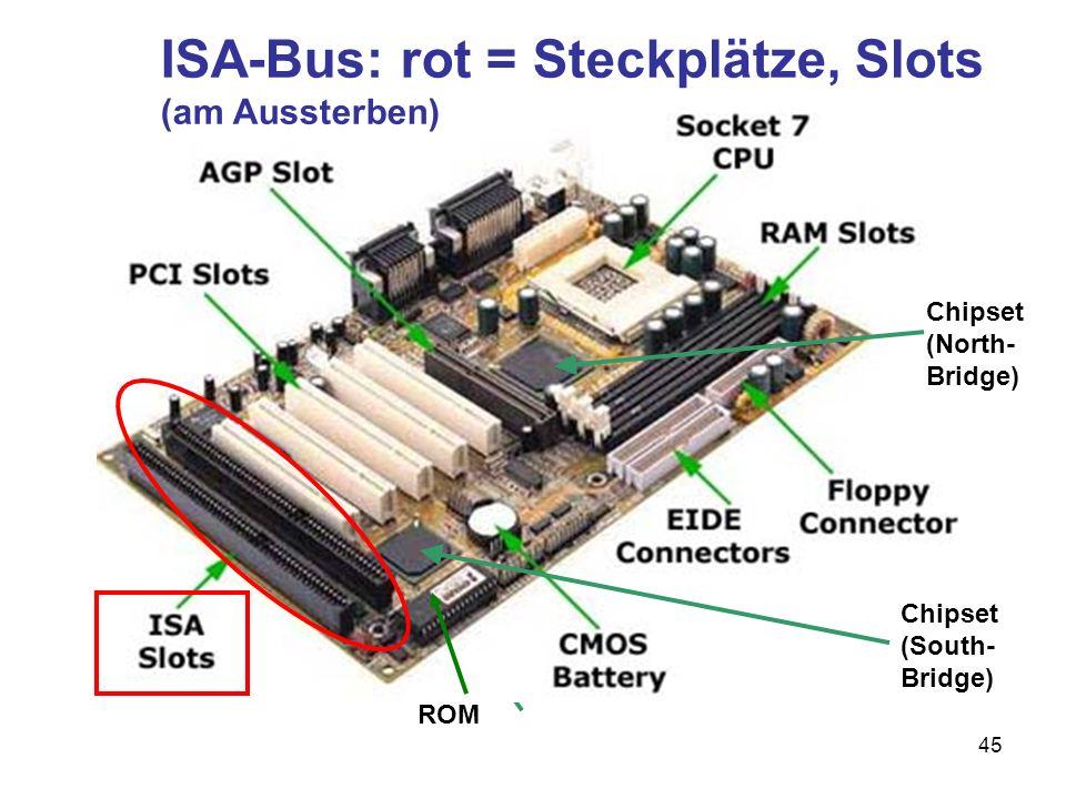 ISA-Bus: rot = Steckplätze, Slots (am Aussterben)