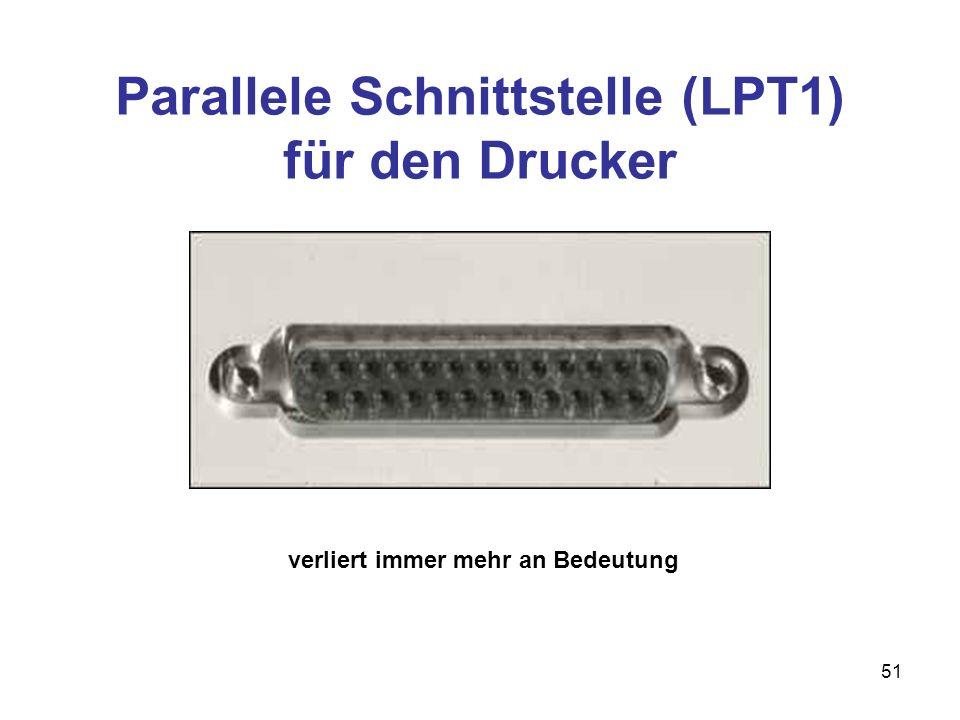 Parallele Schnittstelle (LPT1) für den Drucker