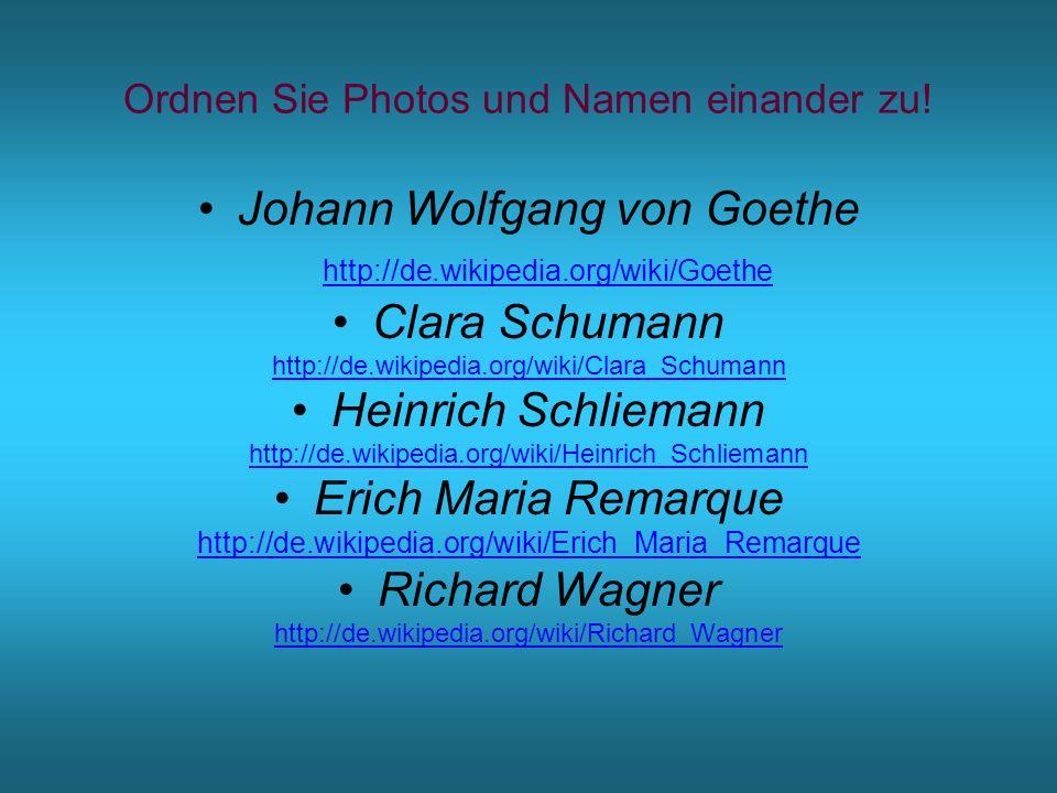 Ordnen Sie Photos und Namen einander zu!
