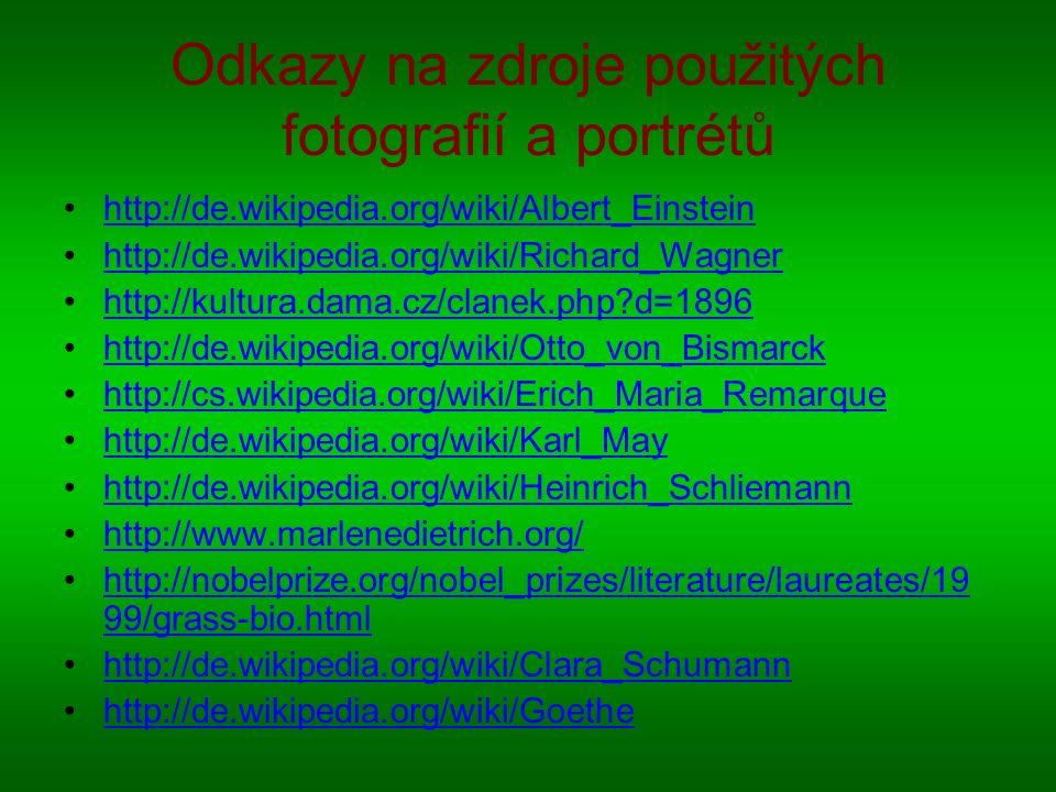 Odkazy na zdroje použitých fotografií a portrétů