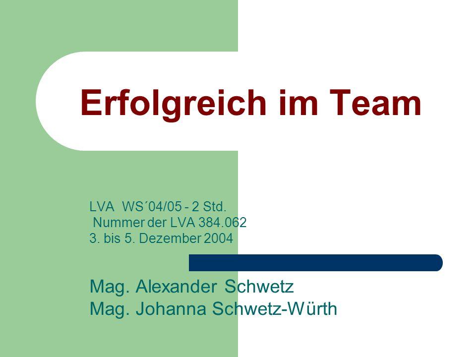 Erfolgreich im Team Mag. Alexander Schwetz Mag. Johanna Schwetz-Würth
