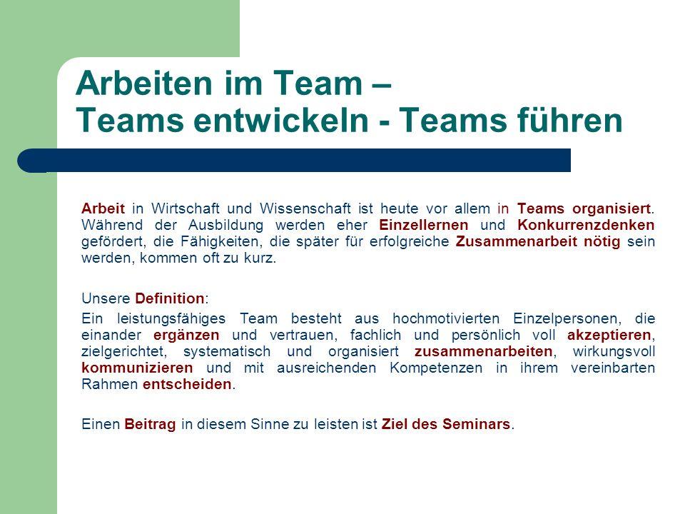 Arbeiten im Team – Teams entwickeln - Teams führen
