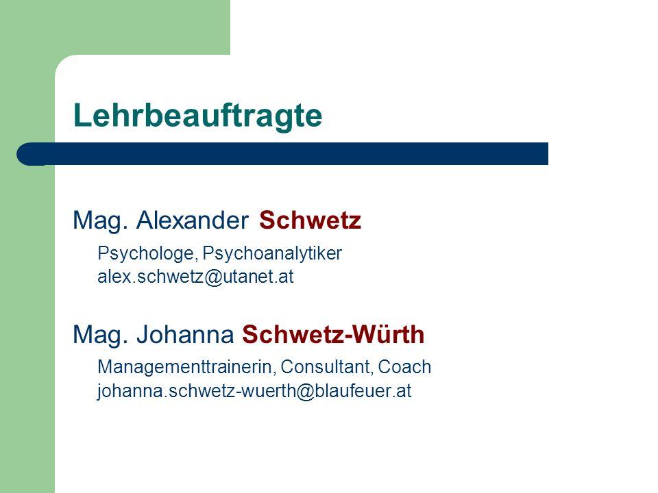 Lehrbeauftragte Mag. Alexander Schwetz Psychologe, Psychoanalytiker