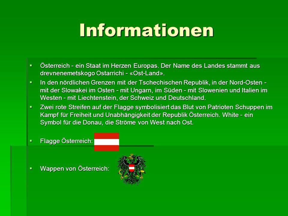 Informationen Österreich - ein Staat im Herzen Europas. Der Name des Landes stammt aus drevnenemetskogo Ostarrichi - «Ost-Land».