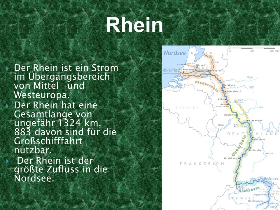 Rhein Der Rhein ist ein Strom im Übergangsbereich von Mittel- und Westeuropa.