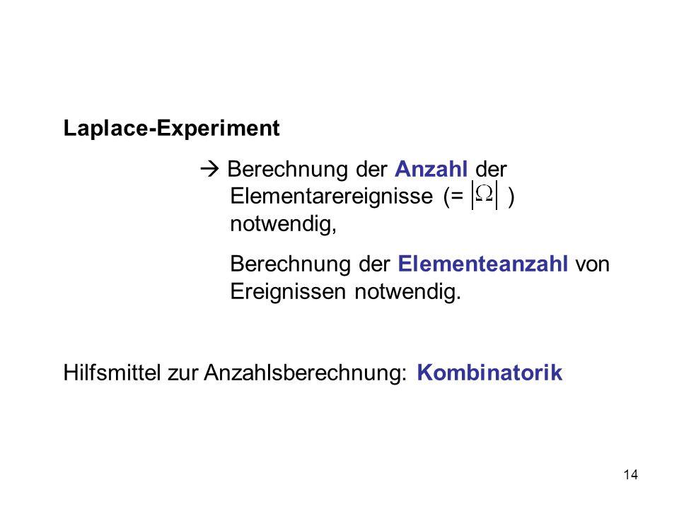 Laplace-Experiment  Berechnung der Anzahl der Elementarereignisse (= ) notwendig,