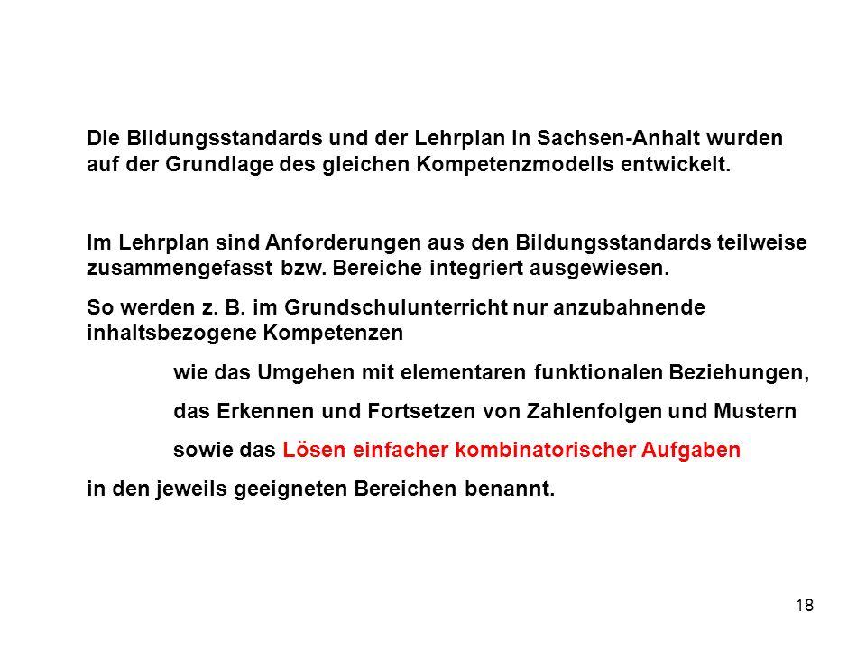 Die Bildungsstandards und der Lehrplan in Sachsen-Anhalt wurden auf der Grundlage des gleichen Kompetenzmodells entwickelt.