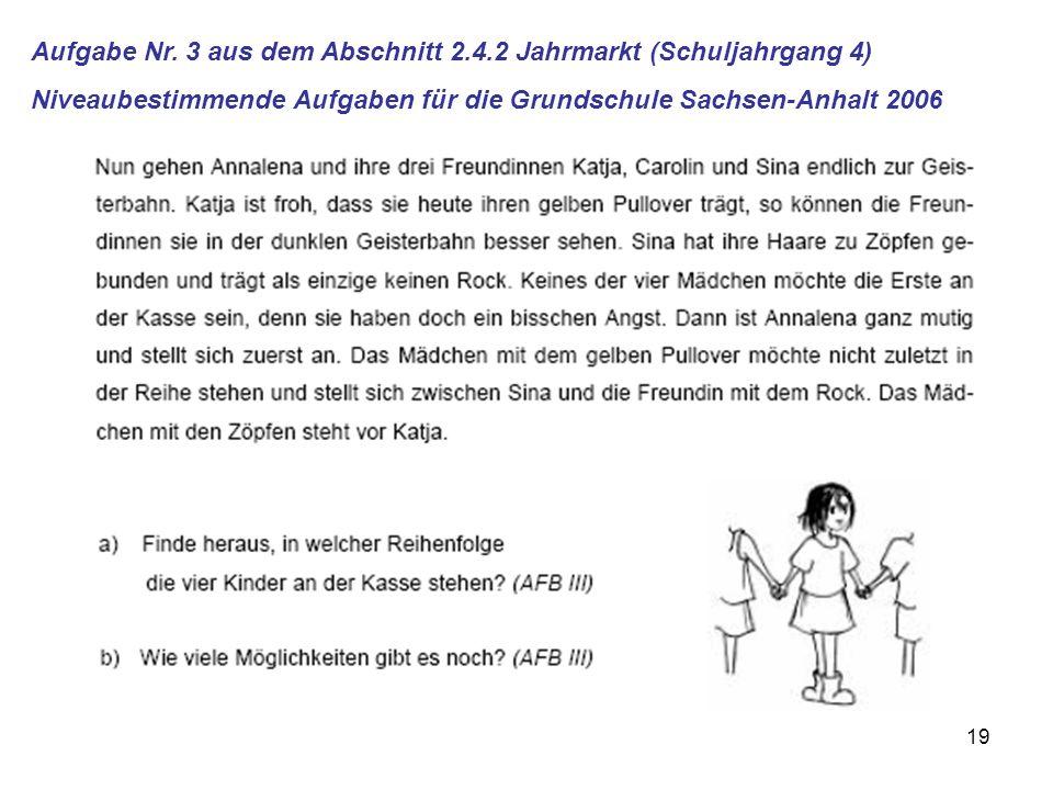 Aufgabe Nr. 3 aus dem Abschnitt 2.4.2 Jahrmarkt (Schuljahrgang 4)
