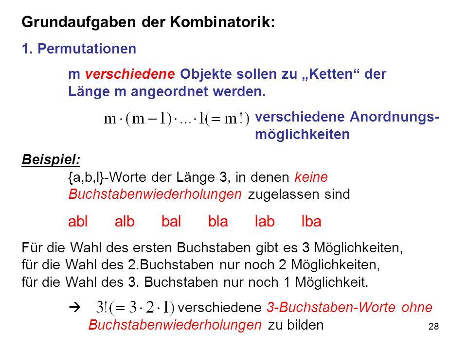 Grundaufgaben der Kombinatorik: