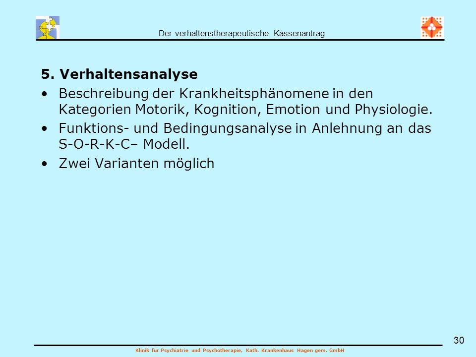 5. Verhaltensanalyse Beschreibung der Krankheitsphänomene in den Kategorien Motorik, Kognition, Emotion und Physiologie.
