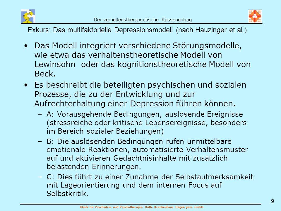 Exkurs: Das multifaktorielle Depressionsmodell (nach Hauzinger et al.)