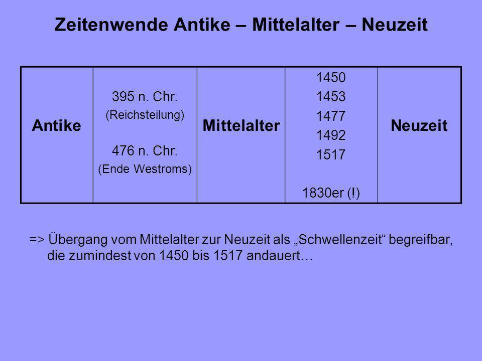 Zeitenwende Antike – Mittelalter – Neuzeit