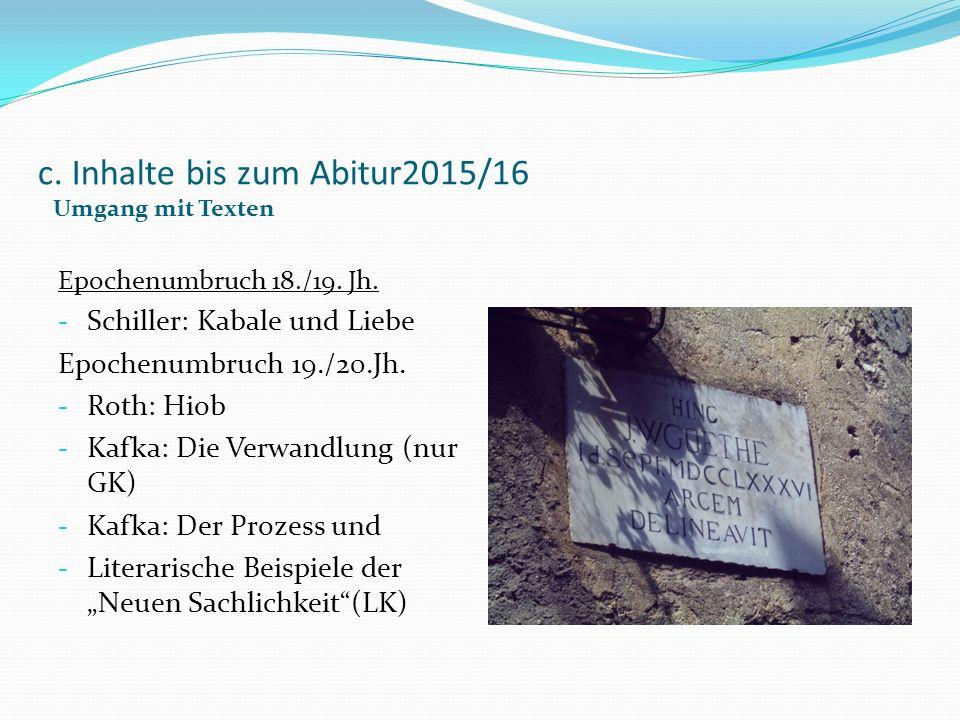 c. Inhalte bis zum Abitur2015/16