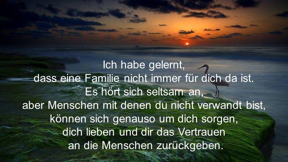 dass eine Familie nicht immer für dich da ist.