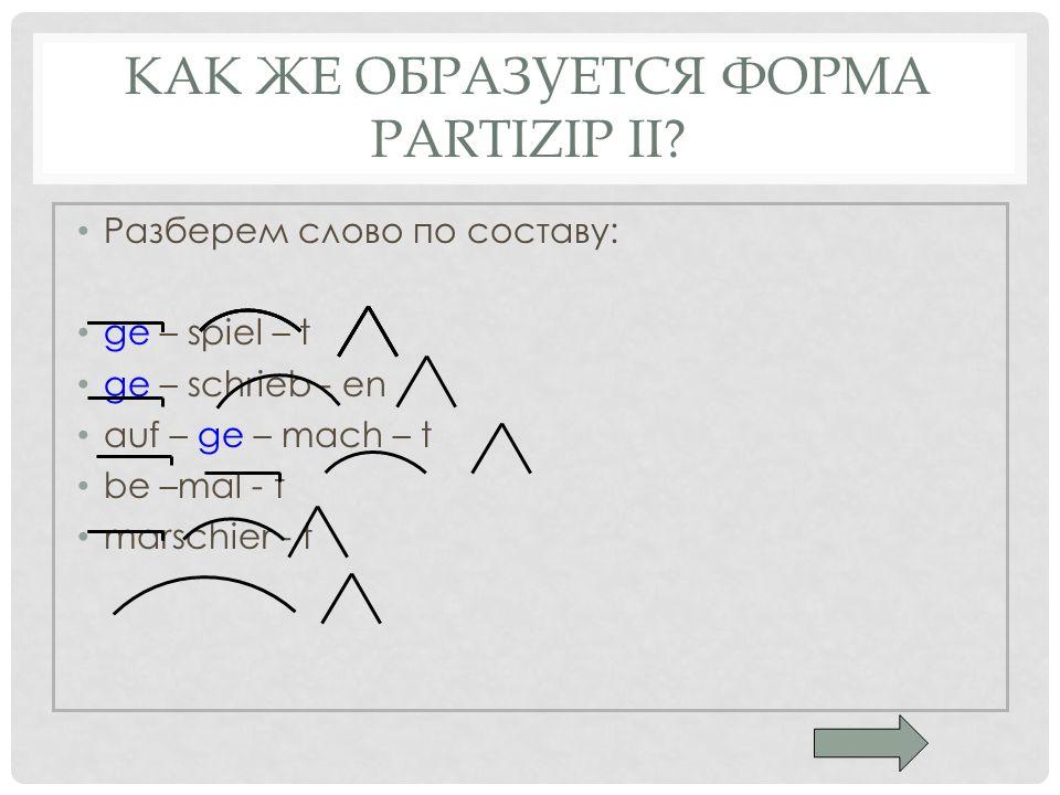 Как же образуется форма Partizip II