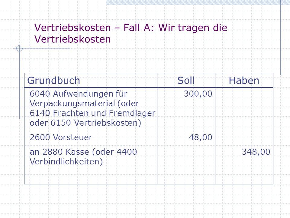 Vertriebskosten – Fall A: Wir tragen die Vertriebskosten