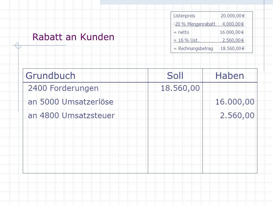 Rabatt an Kunden Grundbuch Soll Haben 2400 Forderungen