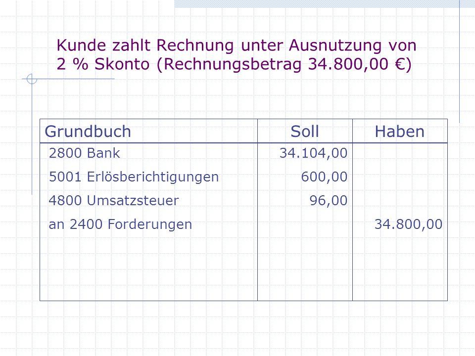 Kunde zahlt Rechnung unter Ausnutzung von 2 % Skonto (Rechnungsbetrag 34.800,00 €)