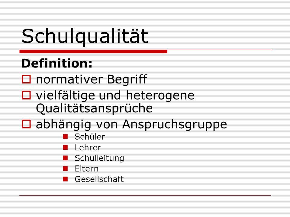 Schulqualität Definition: normativer Begriff