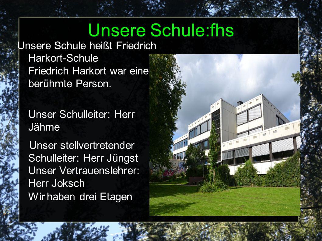 Unsere Schule:fhs Unsere Schule heißt Friedrich Harkort-Schule Friedrich Harkort war eine berühmte Person.