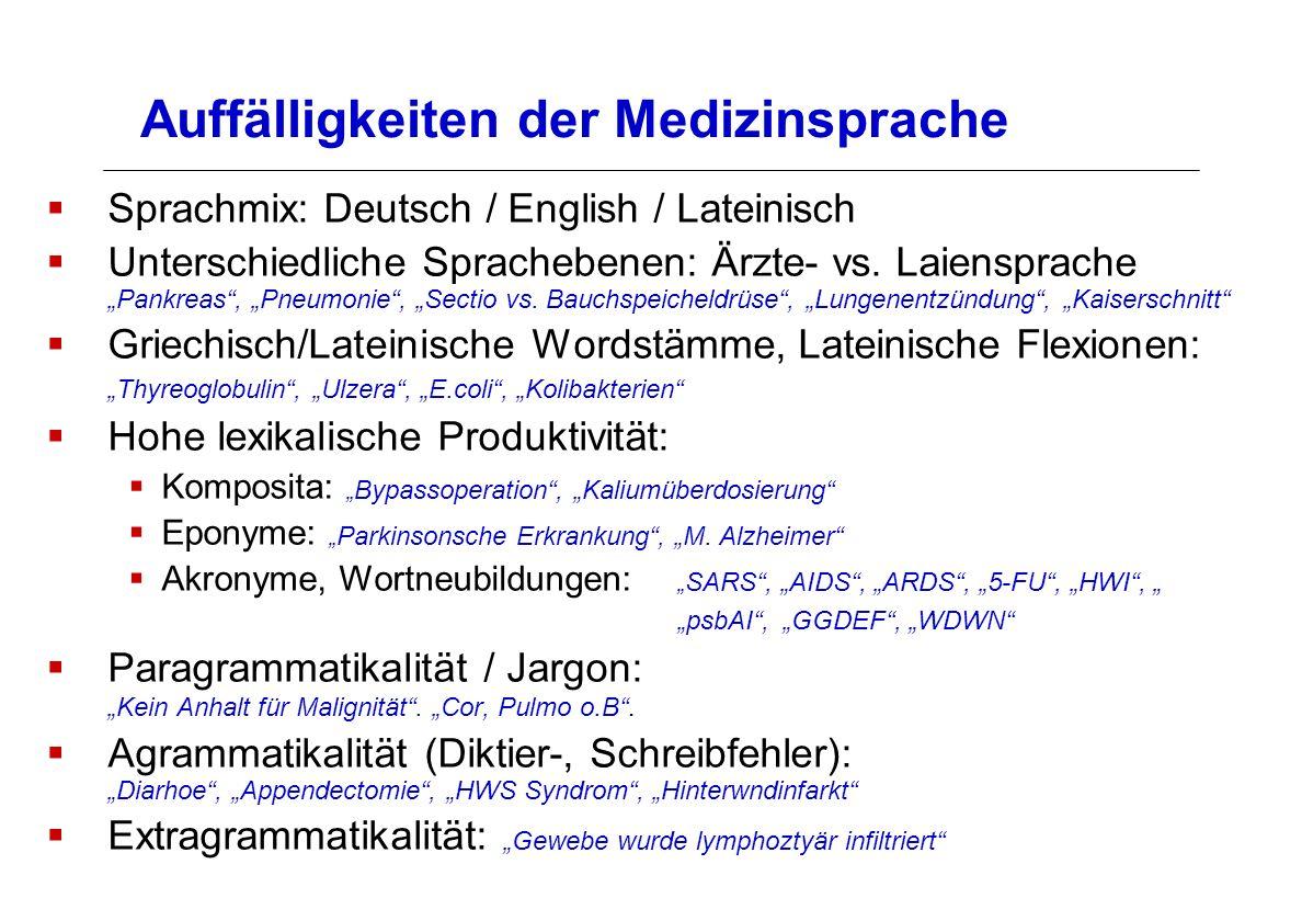 Auffälligkeiten der Medizinsprache