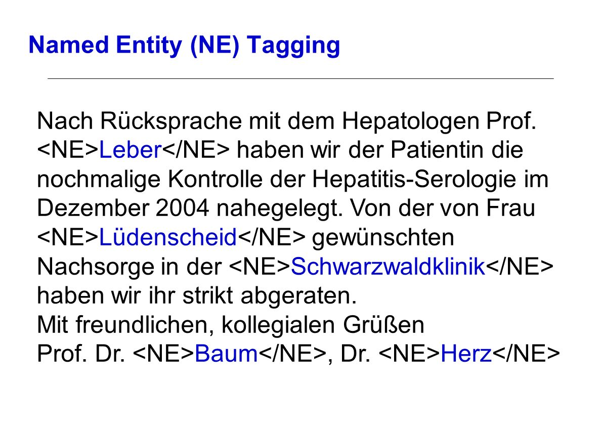 Named Entity (NE) Tagging